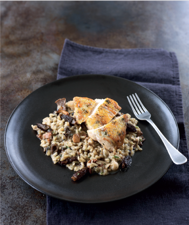 Pan fried guinesa fowl risotto