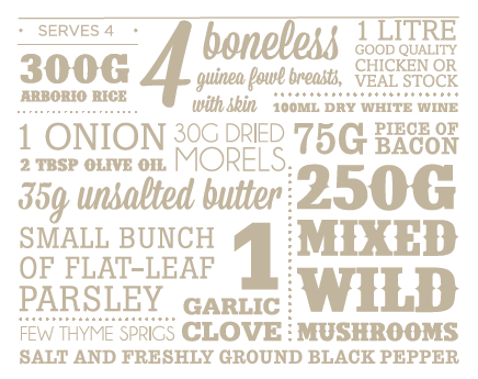 Guinea fowl risotto ingredients