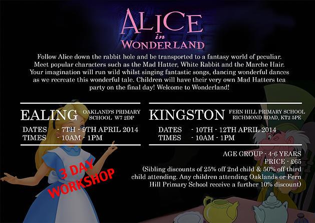 Alice in wonderland workshop for easter holidays ealing