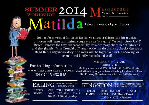 Matilda workshop masquerade arts in ealing
