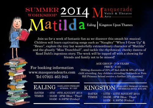 Matilda workshop masquerade arts in ealing