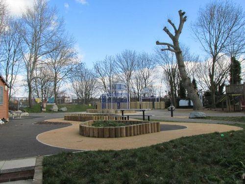 Log cabin playground in Northfields, London